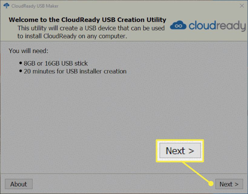 The Cloudready installation window with the Next button highlighted
