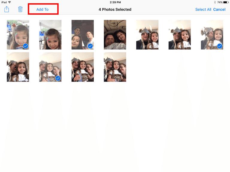 Photos selected on an iPad