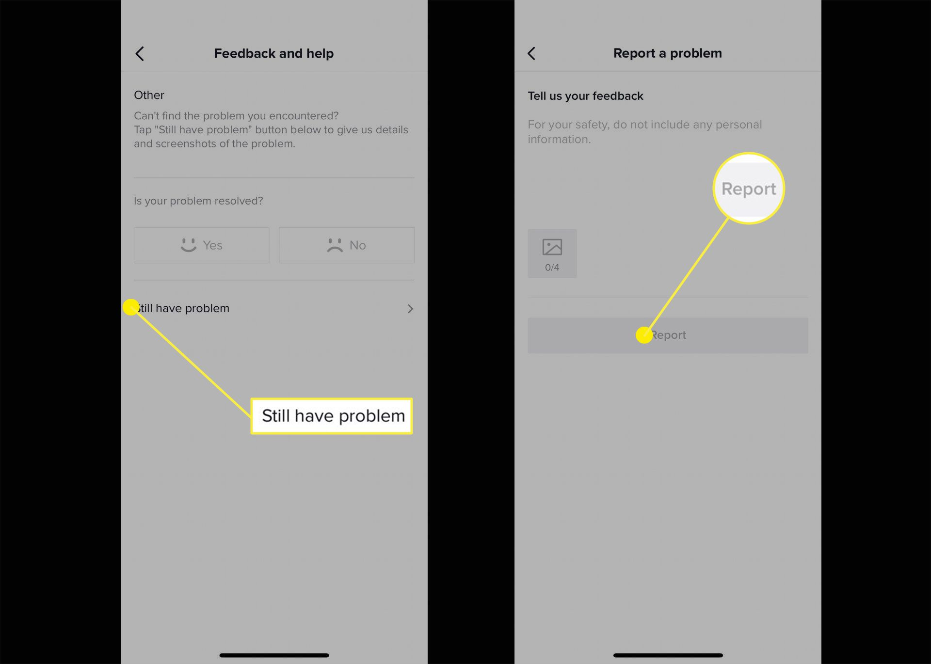 Screenshots of where to report a problem on TikTok.