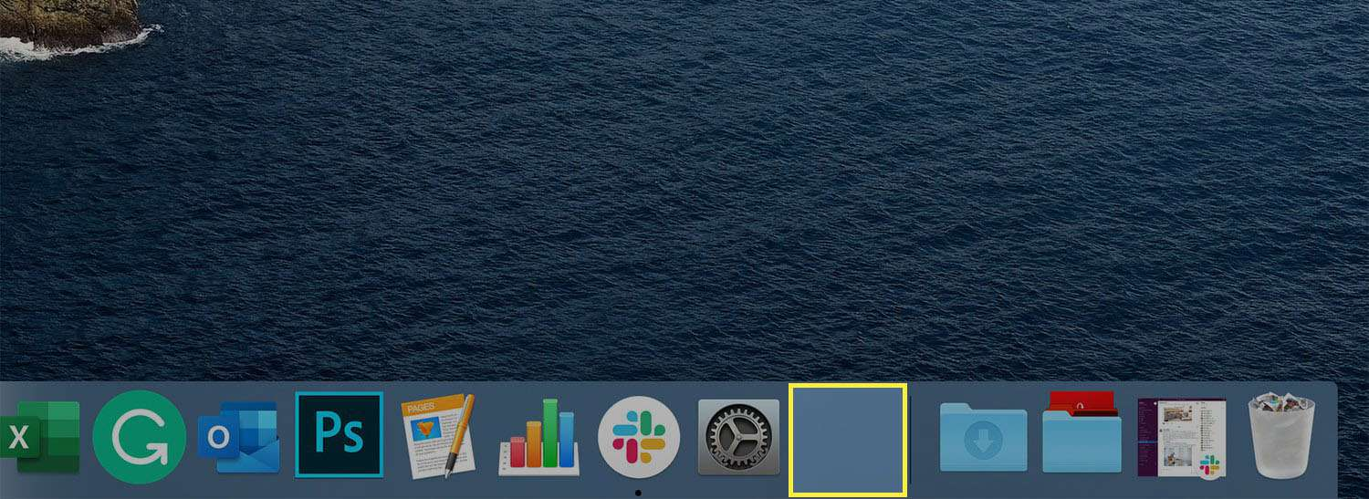 The Mac Dock with a blank spacer