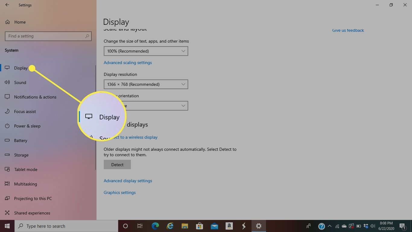 The Display tab of System settings