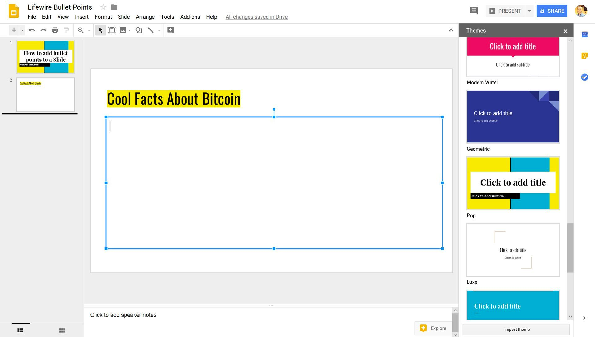 Google Slides with a text area selected