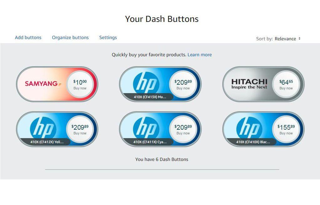 A view of Amazon virtual Dash buttons.