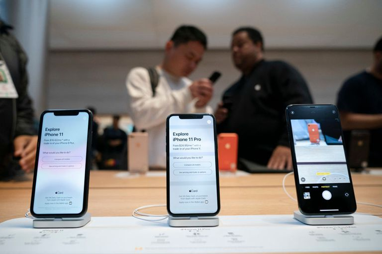 iPhone 11 Models on Display in an Apple Store