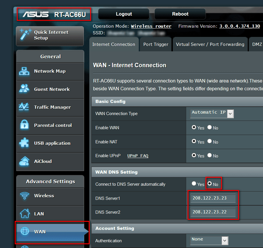 DNS Settings on ASUS RT-AC66U Router