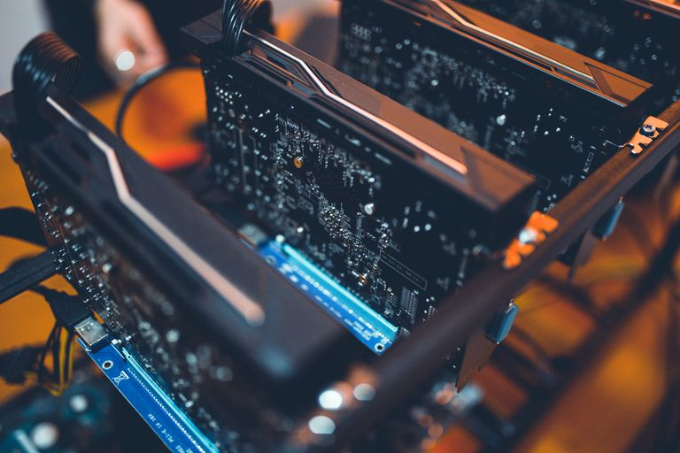 Close up of a cryptocoin mining rig