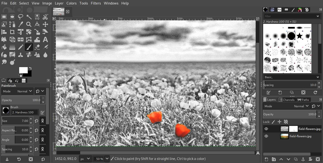 GIMP paintbrush layer mask results