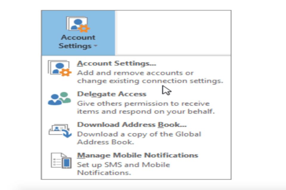 Photo of Outlook account settings window