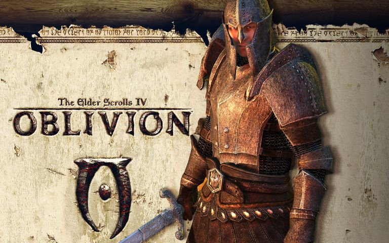 Armored character standing in front of an Oblivion sign