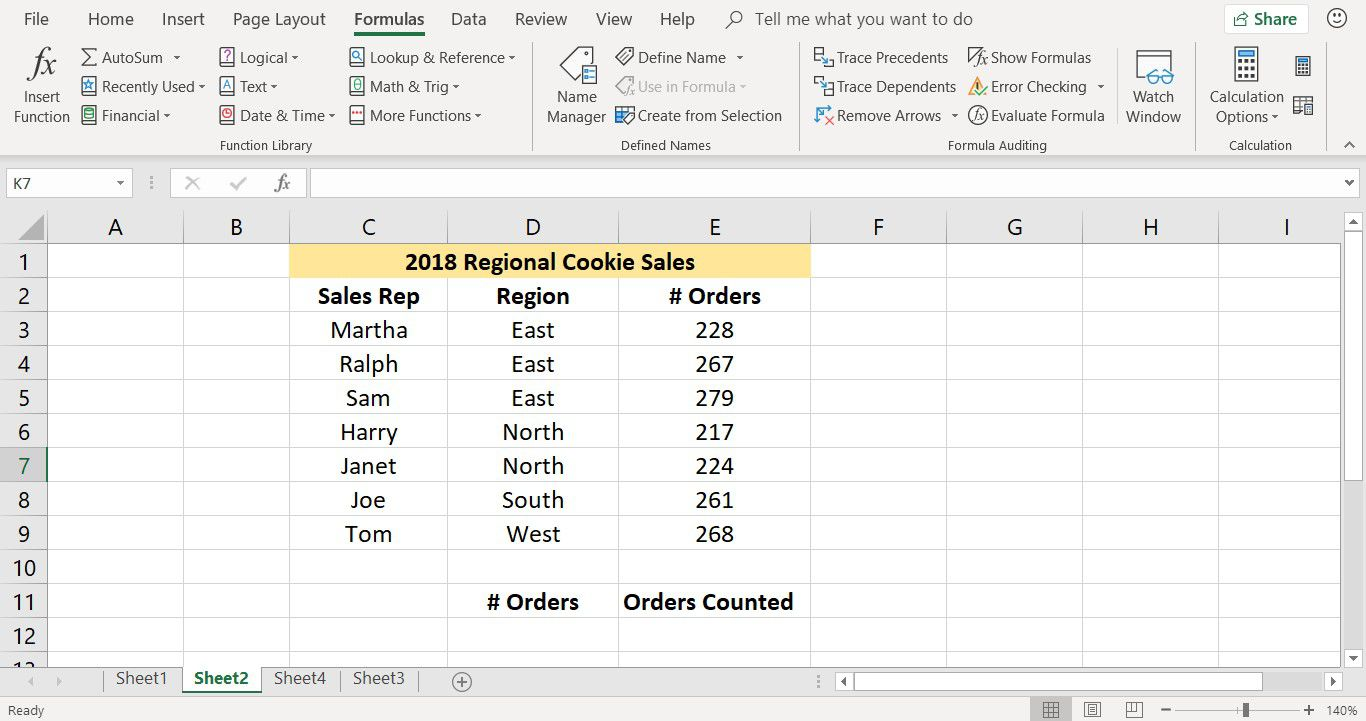 A screenshot showing data used with the COUNTIF function in Excel