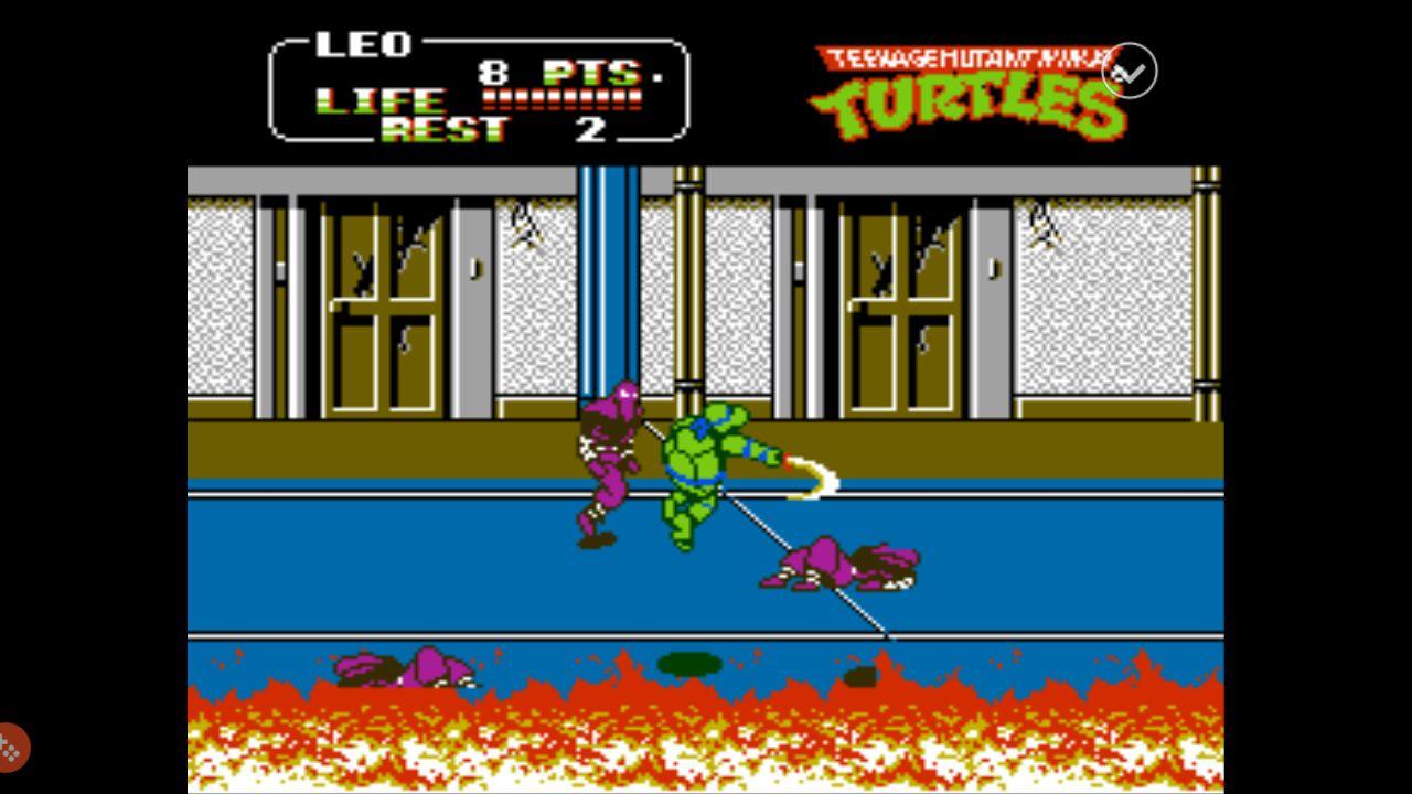 Teenage Mutant Ninja Turtles 2 for NES running in Nestopia for Android