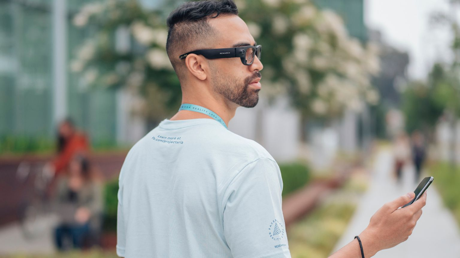 Facebook AR researcher wearing Project Aria glasses