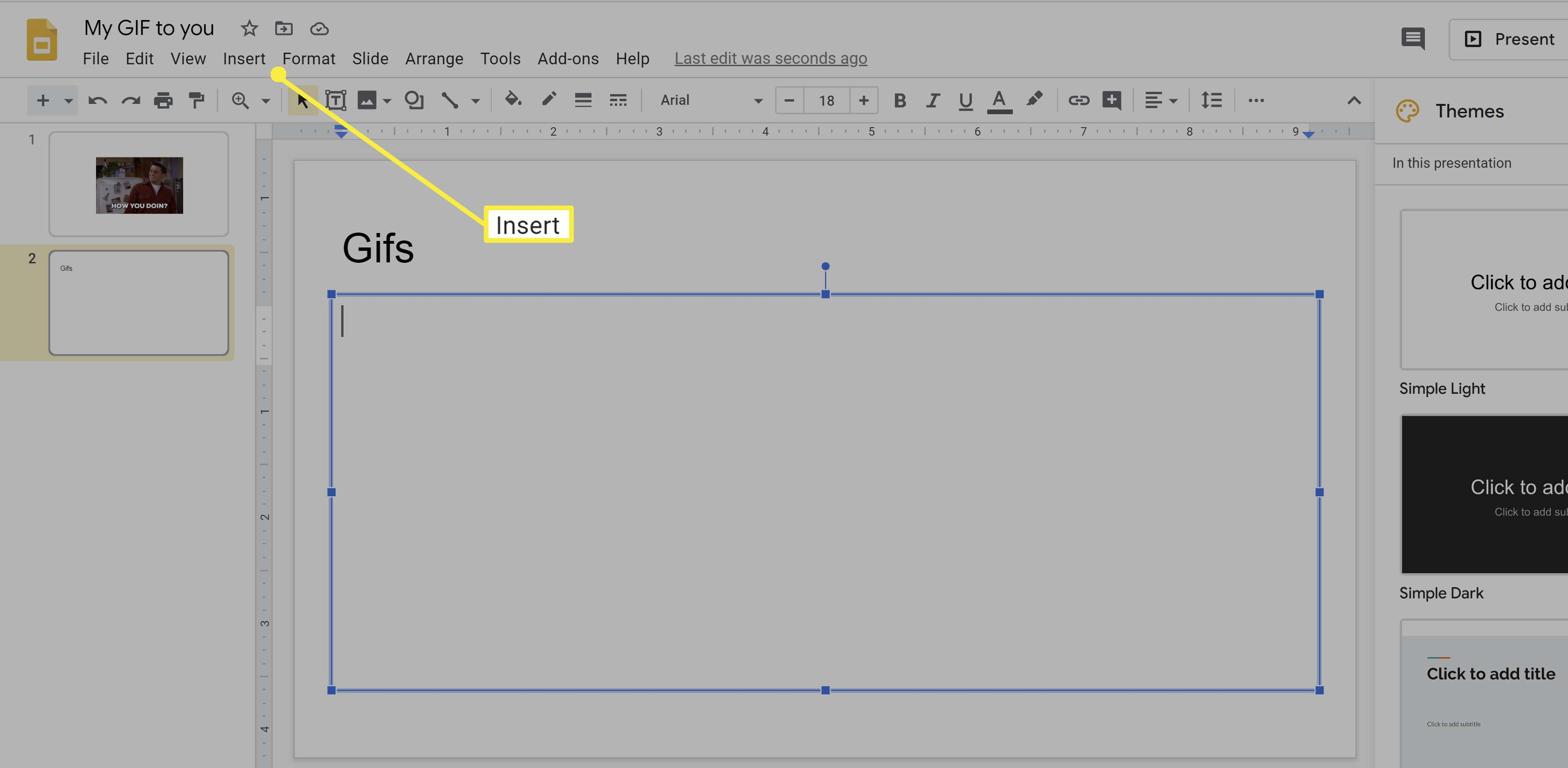 Inserting a GIF into Google Slides.