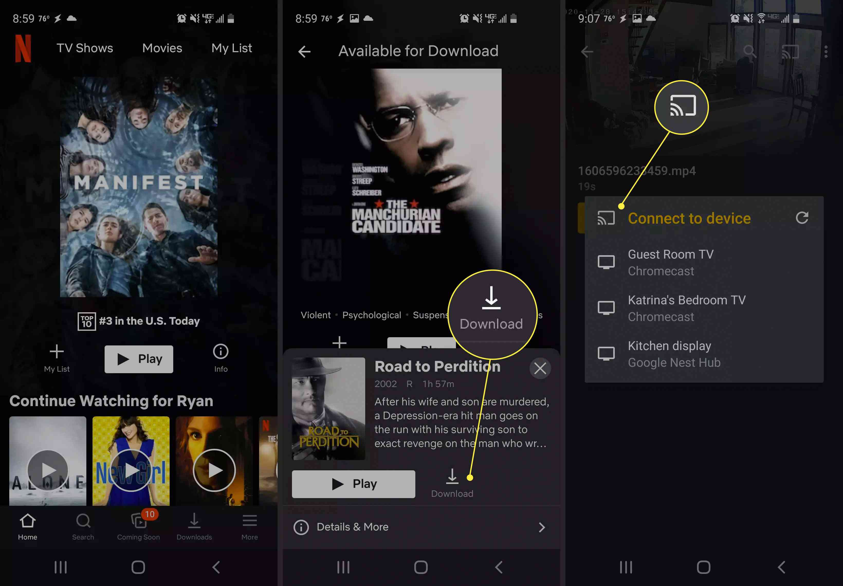 Steps to cast to a Chromecast from a mobile device.