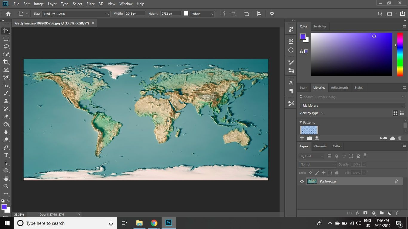 A textured map of the world in Photoshop