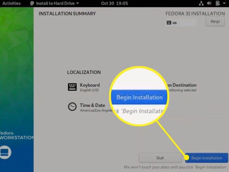 Begin Installation highlighted on Fedora Installation screen