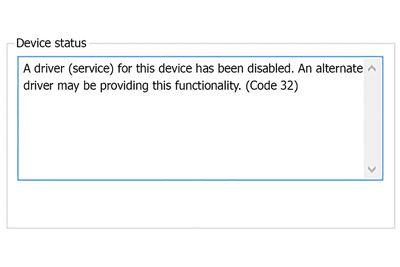 Device Manager Code 32 error screenshot