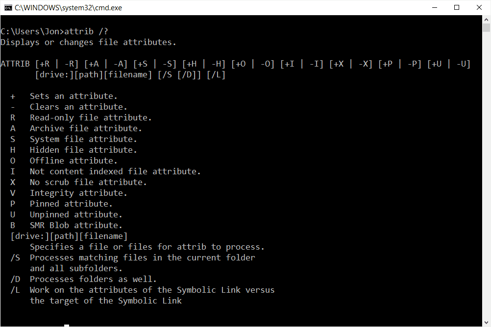 Attrib command options in Windows 10 Command Prompt
