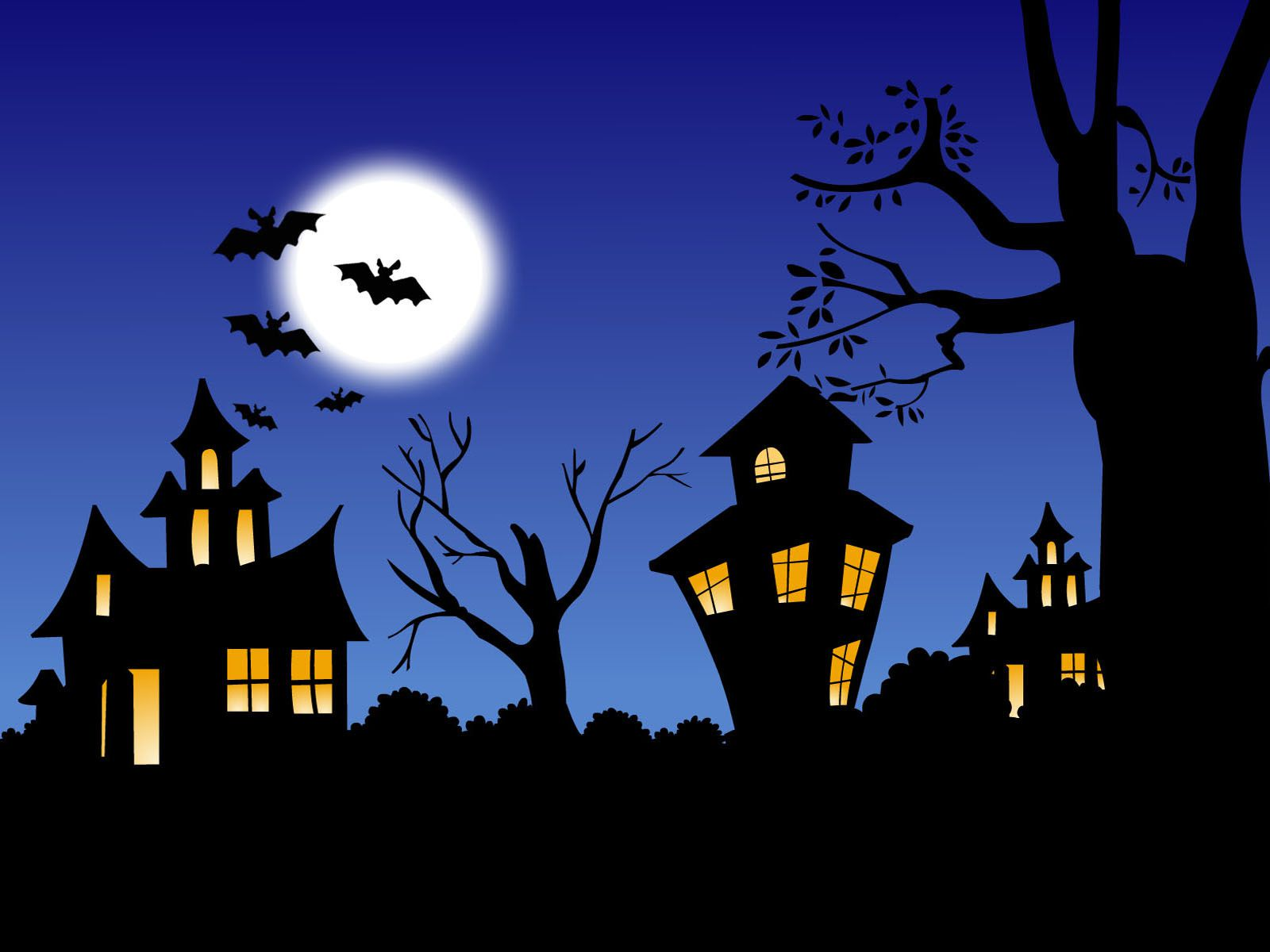 A row of haunted houses.