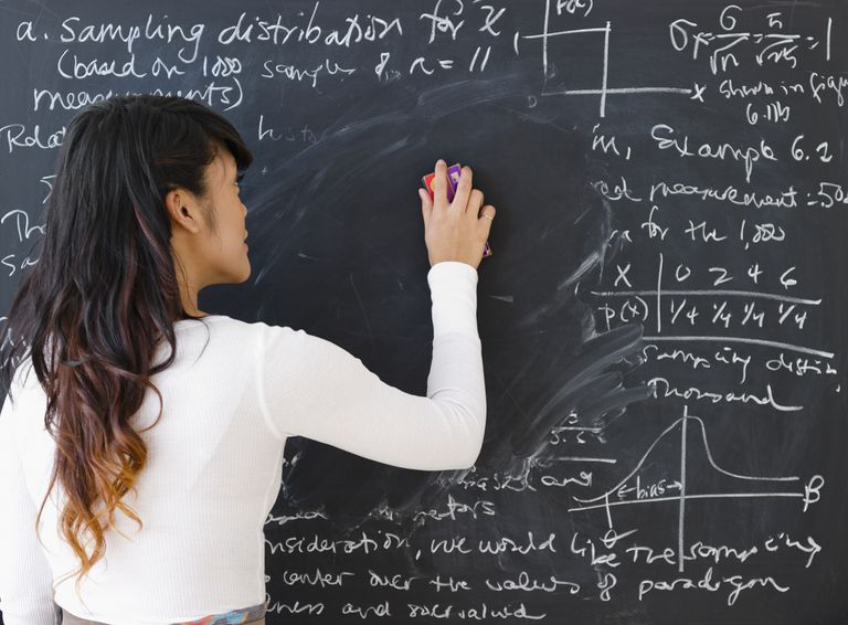 Pacific Islander teacher erasing math from blackboard