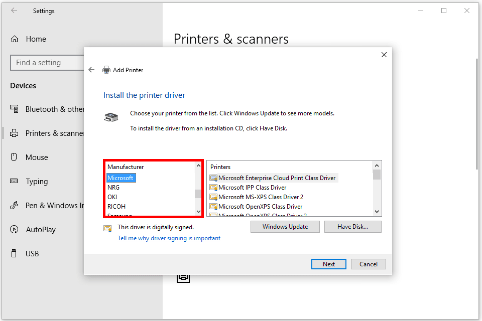 Screenshot of the Windows 10 add printer option