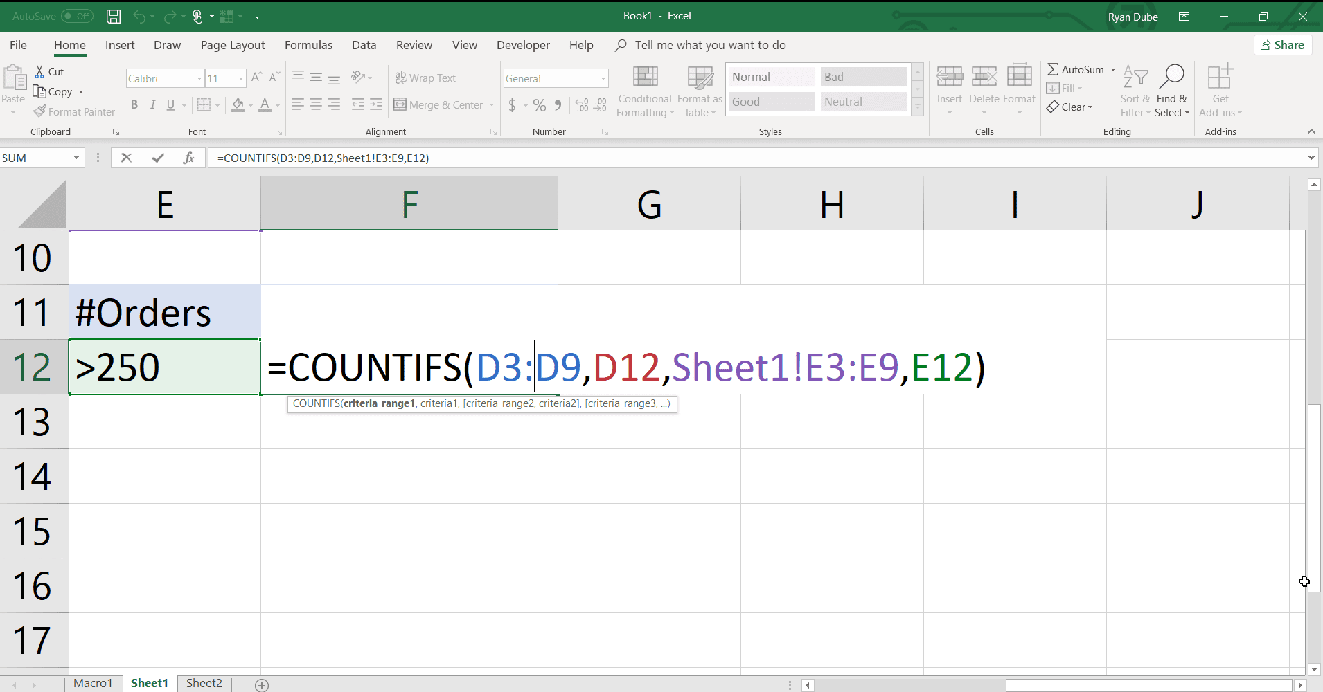 A screenshot of COUNTIFS function syntax.