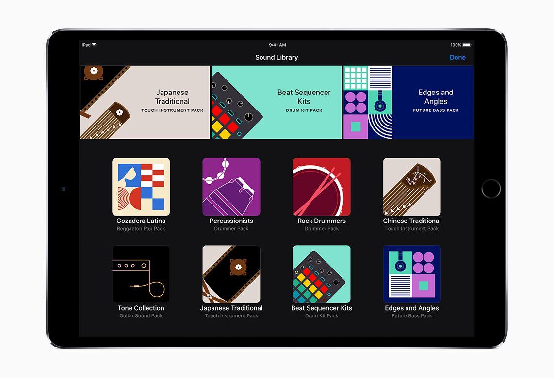 The Garageband app's sound library screen