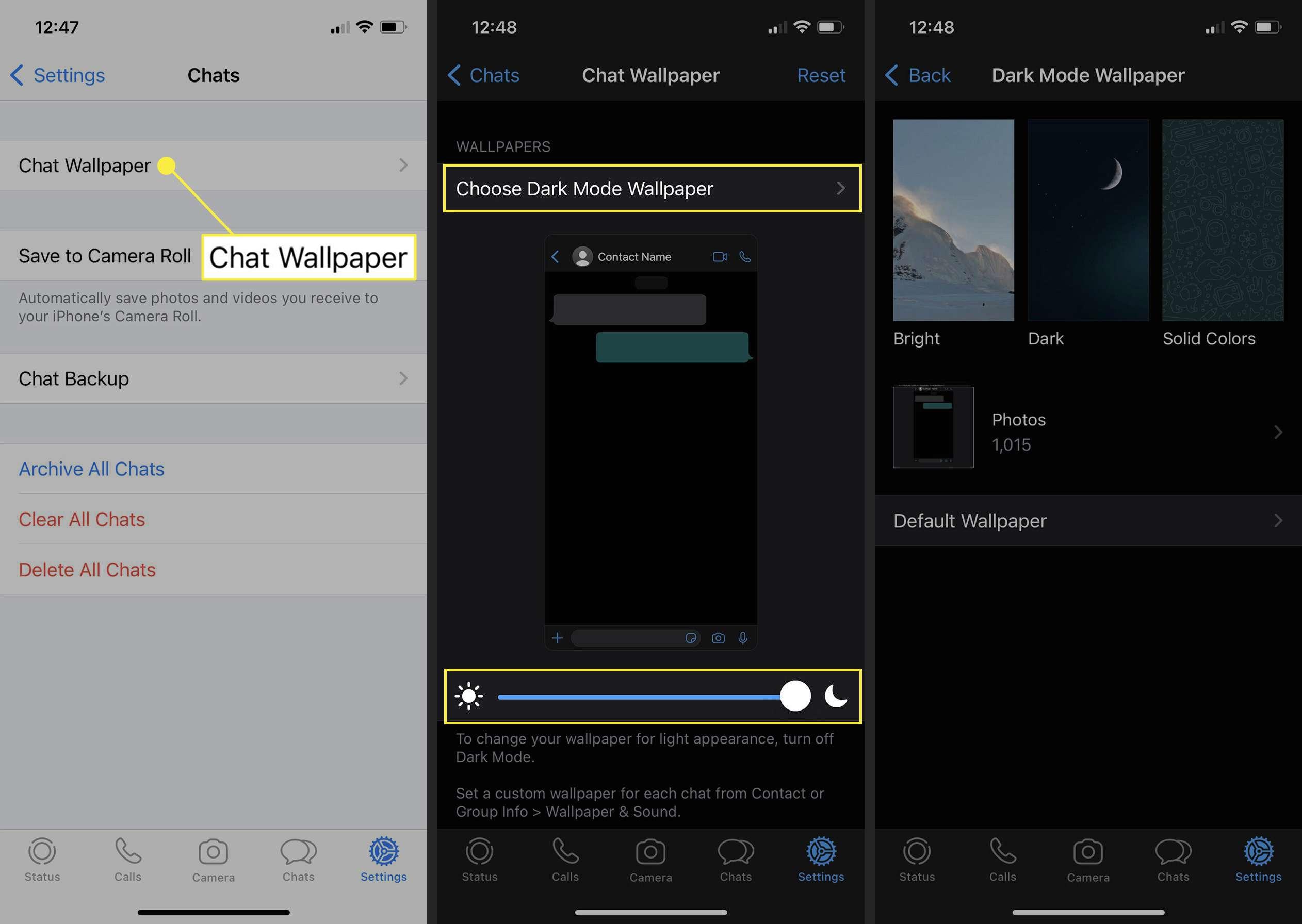 Choosing a Dark Wallpaper in WhatsApp iOS.