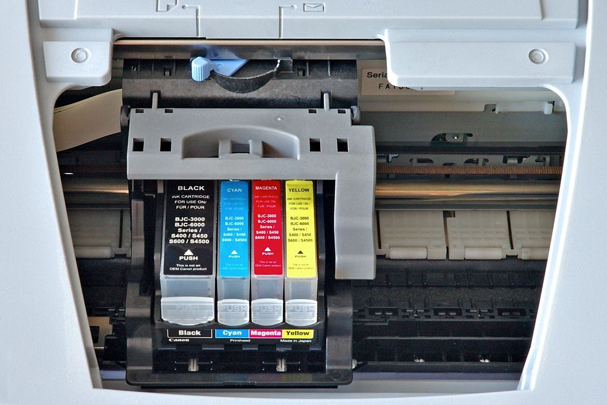 Ink cartridges in a Canon printer.