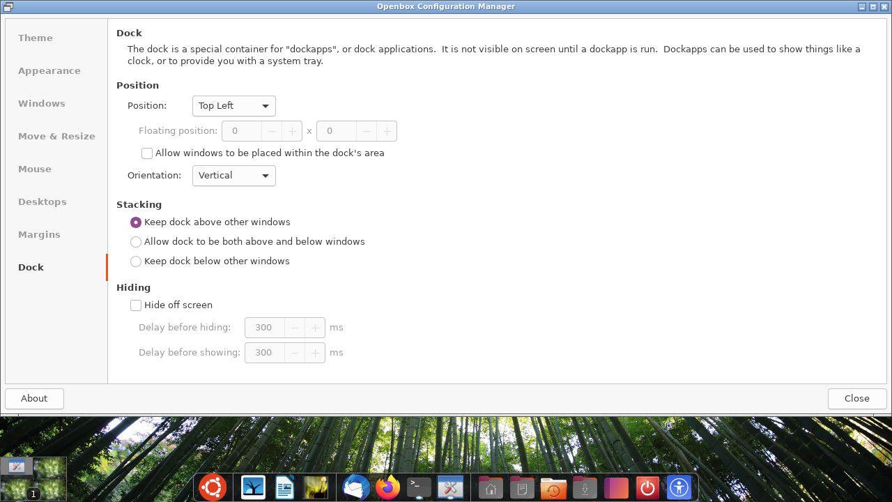 Ubuntu Openbox dock settings