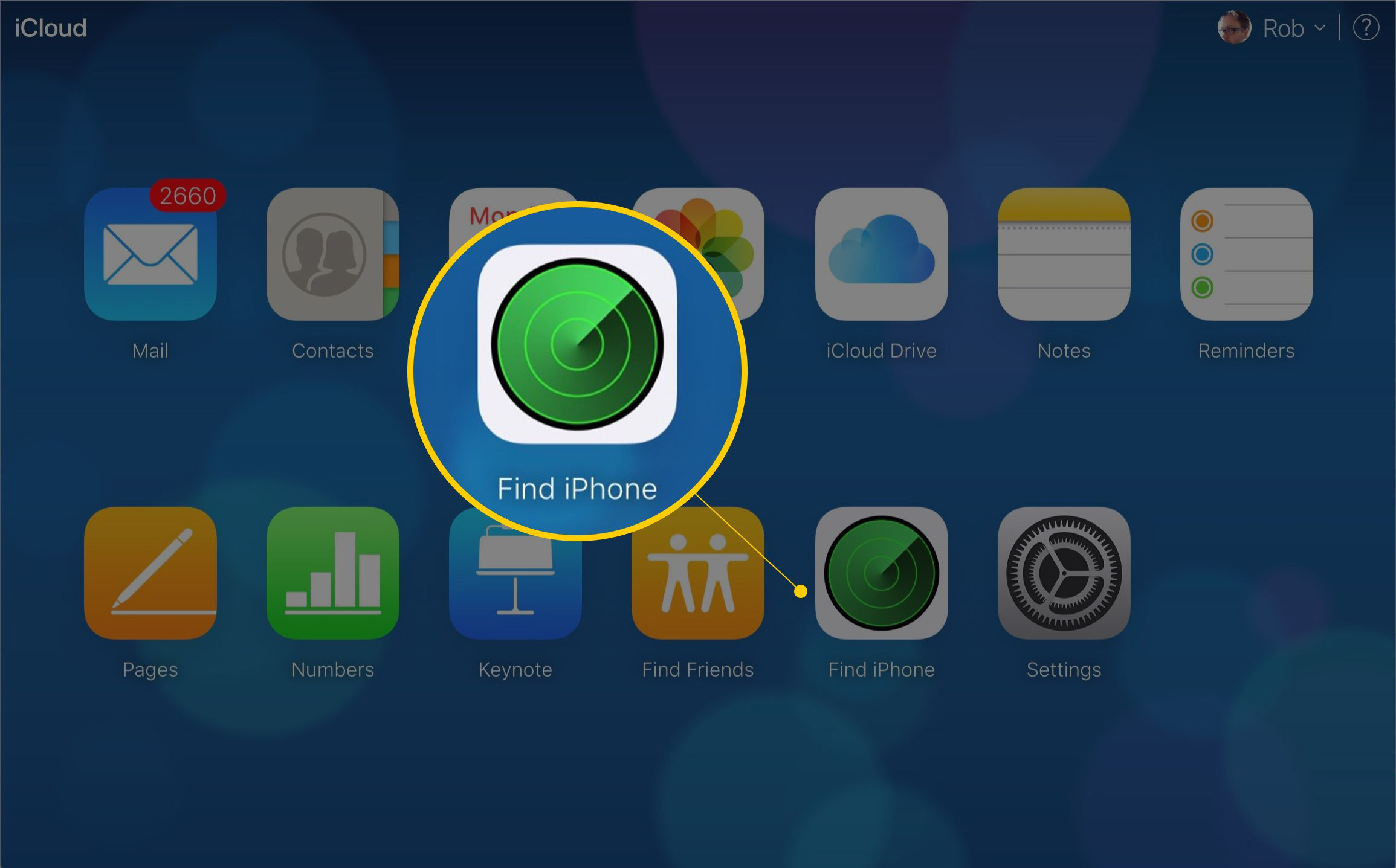 Find iPhone icon on iCloud webpage