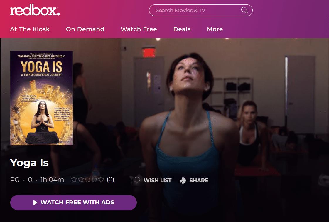 Yoga Is free stream on Redbox