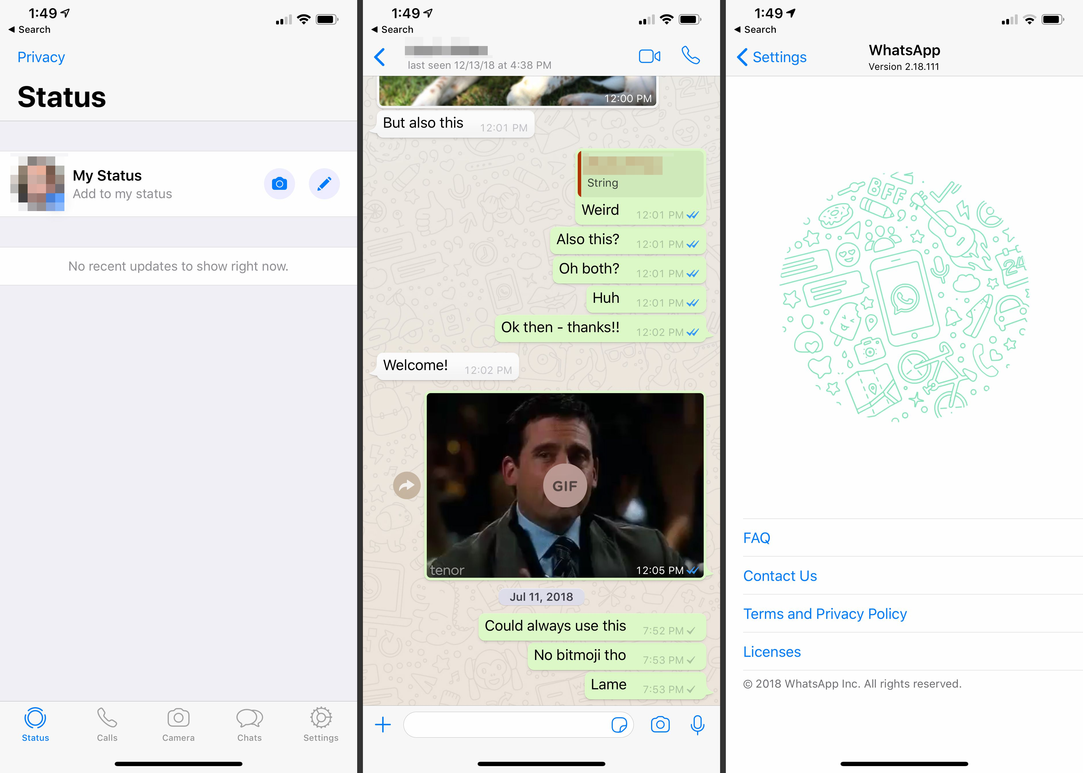 Three WhatsApp screens on iOS