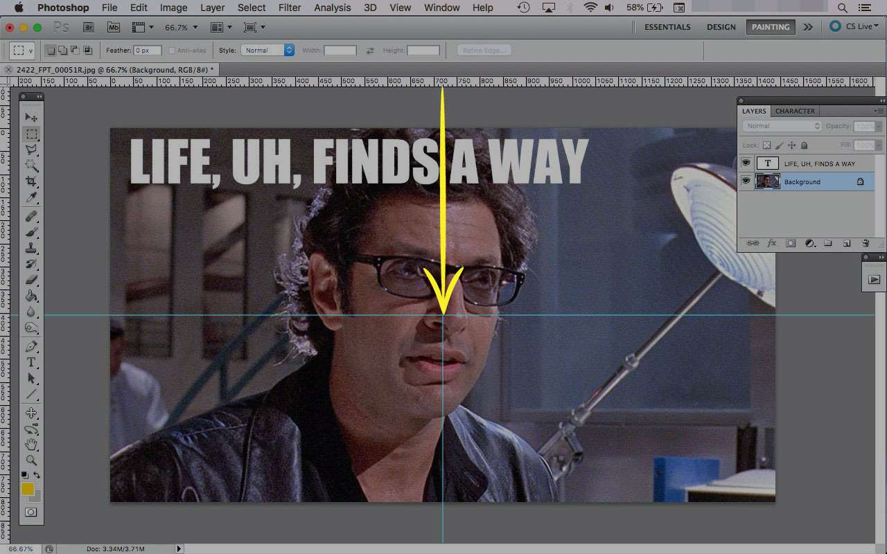 A screenshot of Photoshop with a guide highlighted