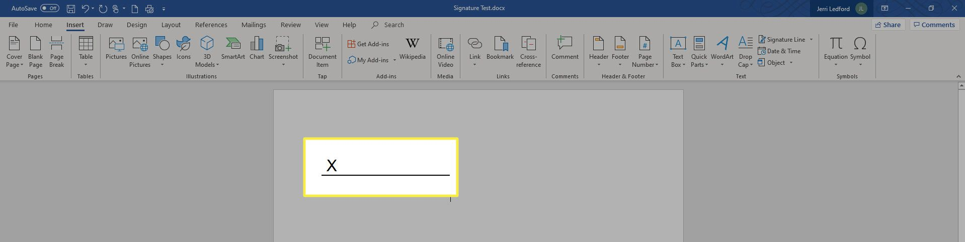 A blank signature line in MS Word.