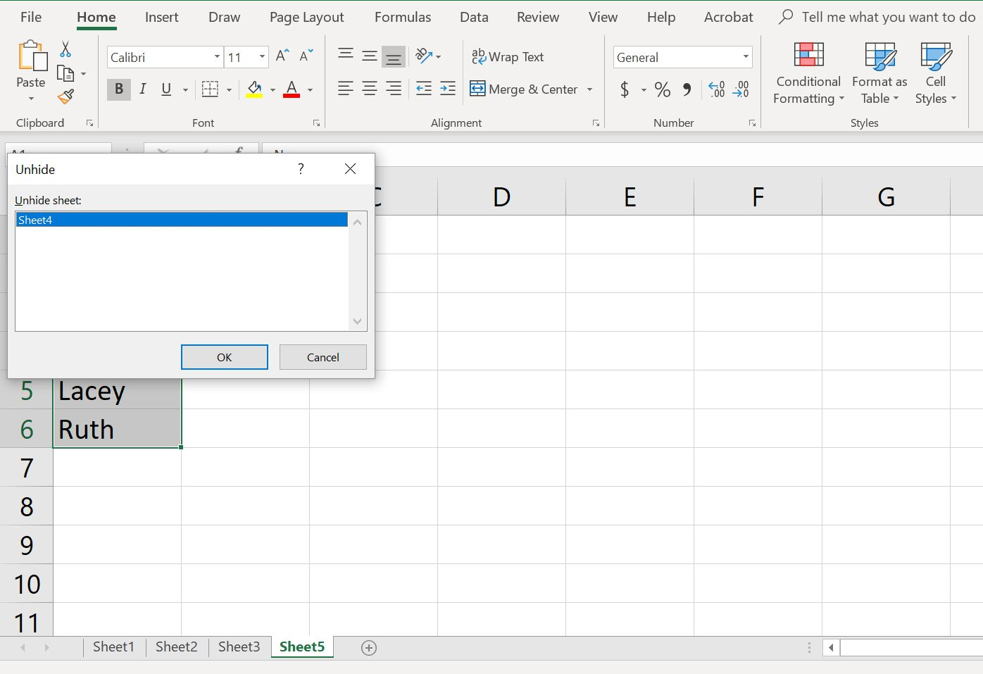 Choose sheet to unhide in Excel