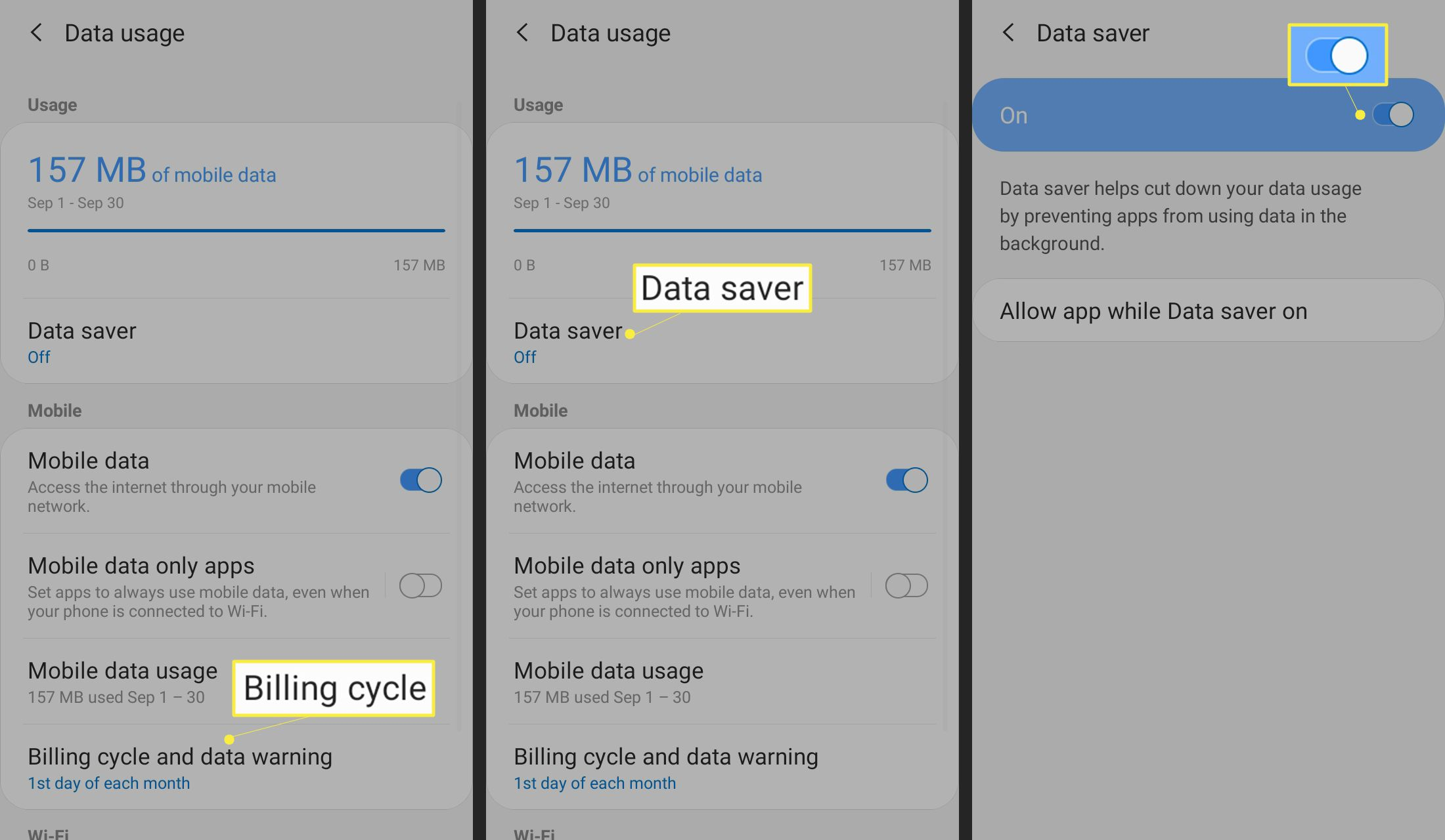 Tap Billing cycle or Data Saver and the toggle switch.