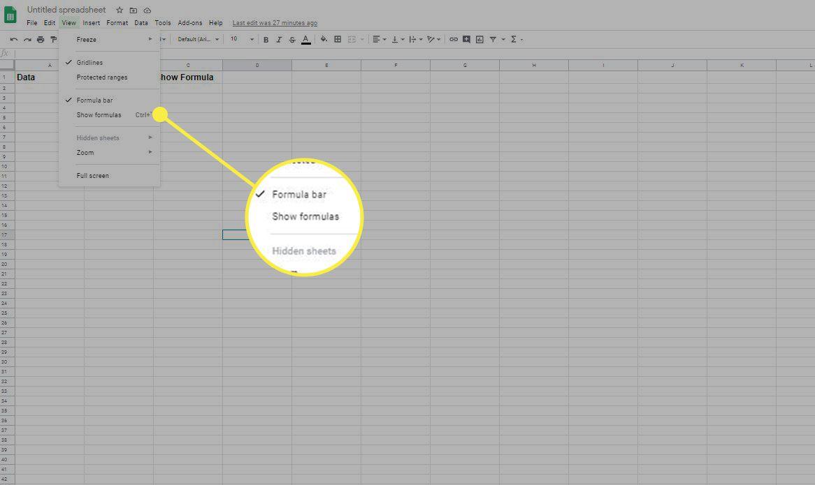 Show or Hide Formulas in Google Sheets