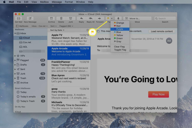 The Flag drop-down menu in Mail on a Mac