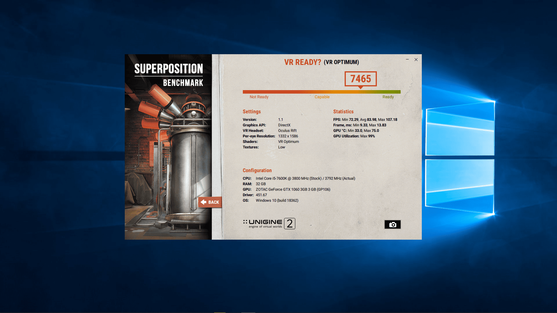 A screenshot of UNIGINE Superposition results.