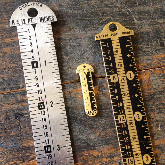Rulers that include point and pica measurements