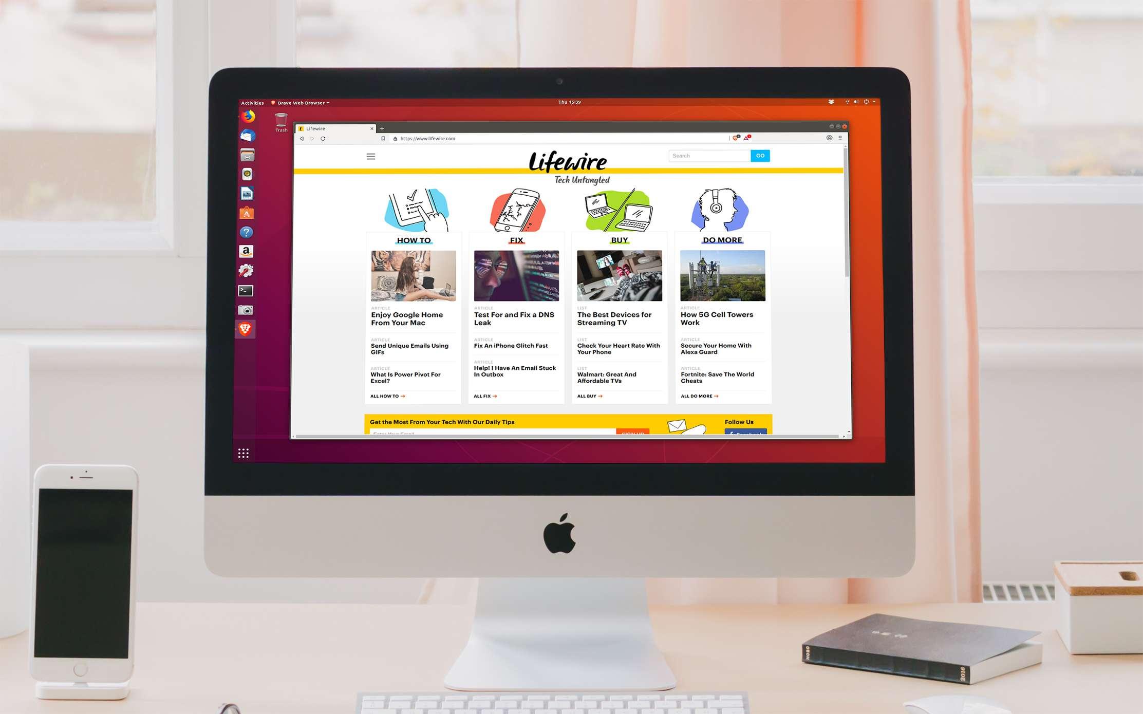 Brave Web Browser on Ubuntu Linux on an iMac computer