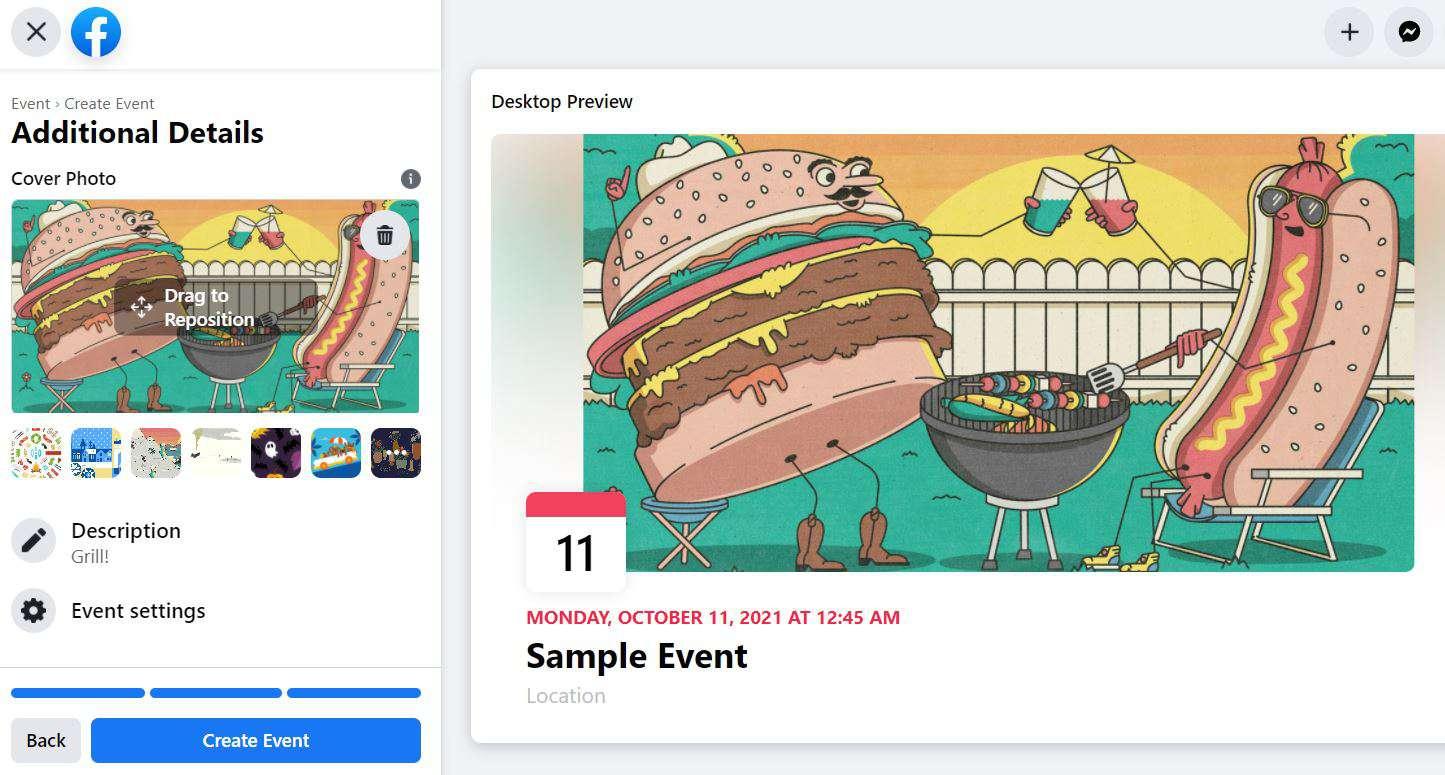 Create Event button