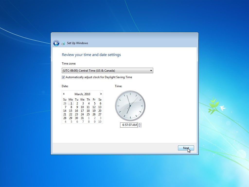 Windows 7 asking for the correct time zone, date, and time after setup