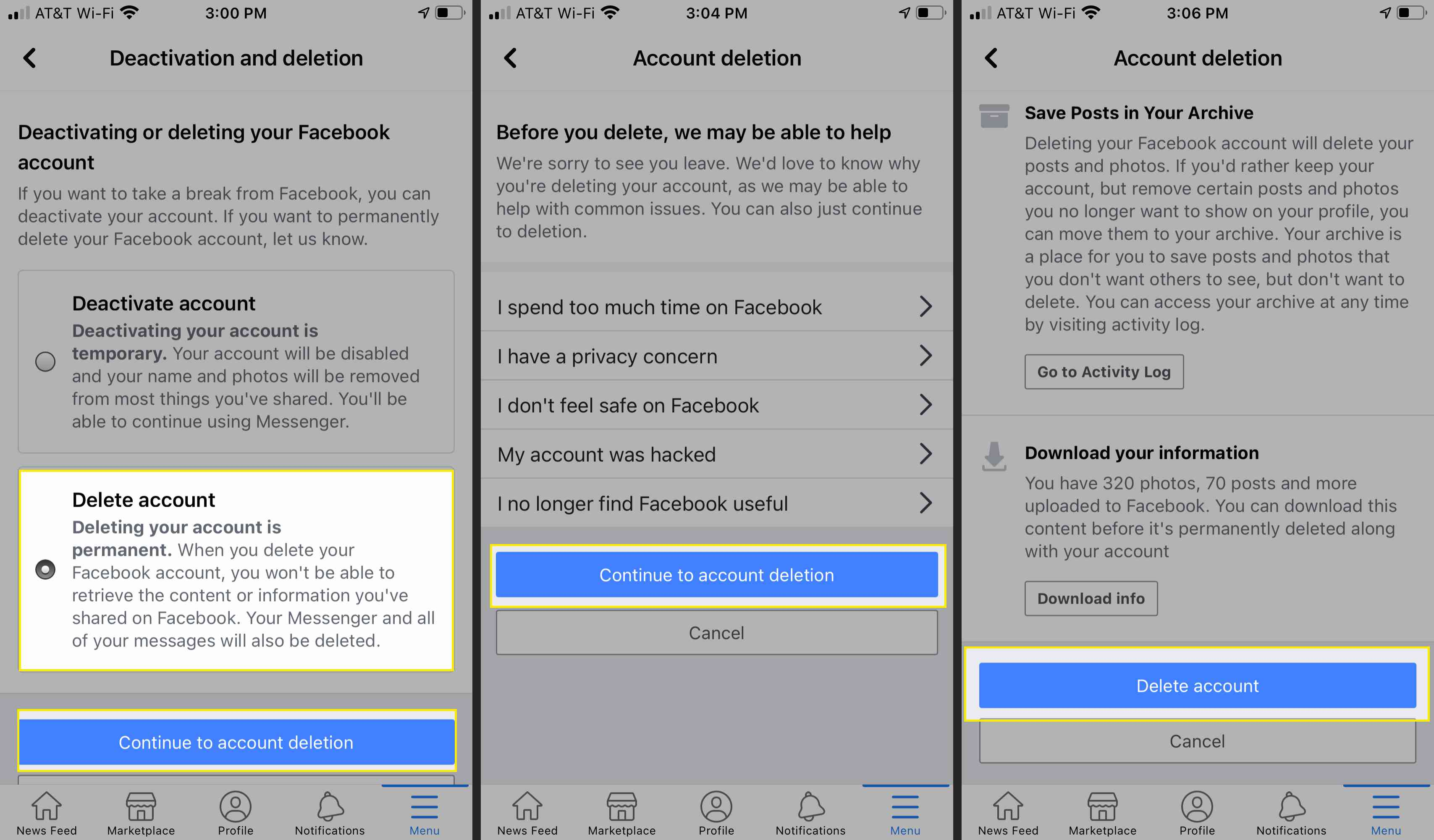 Facebook account settings with Delete Account, Continue to Account Deletions, and Delete account highlighted