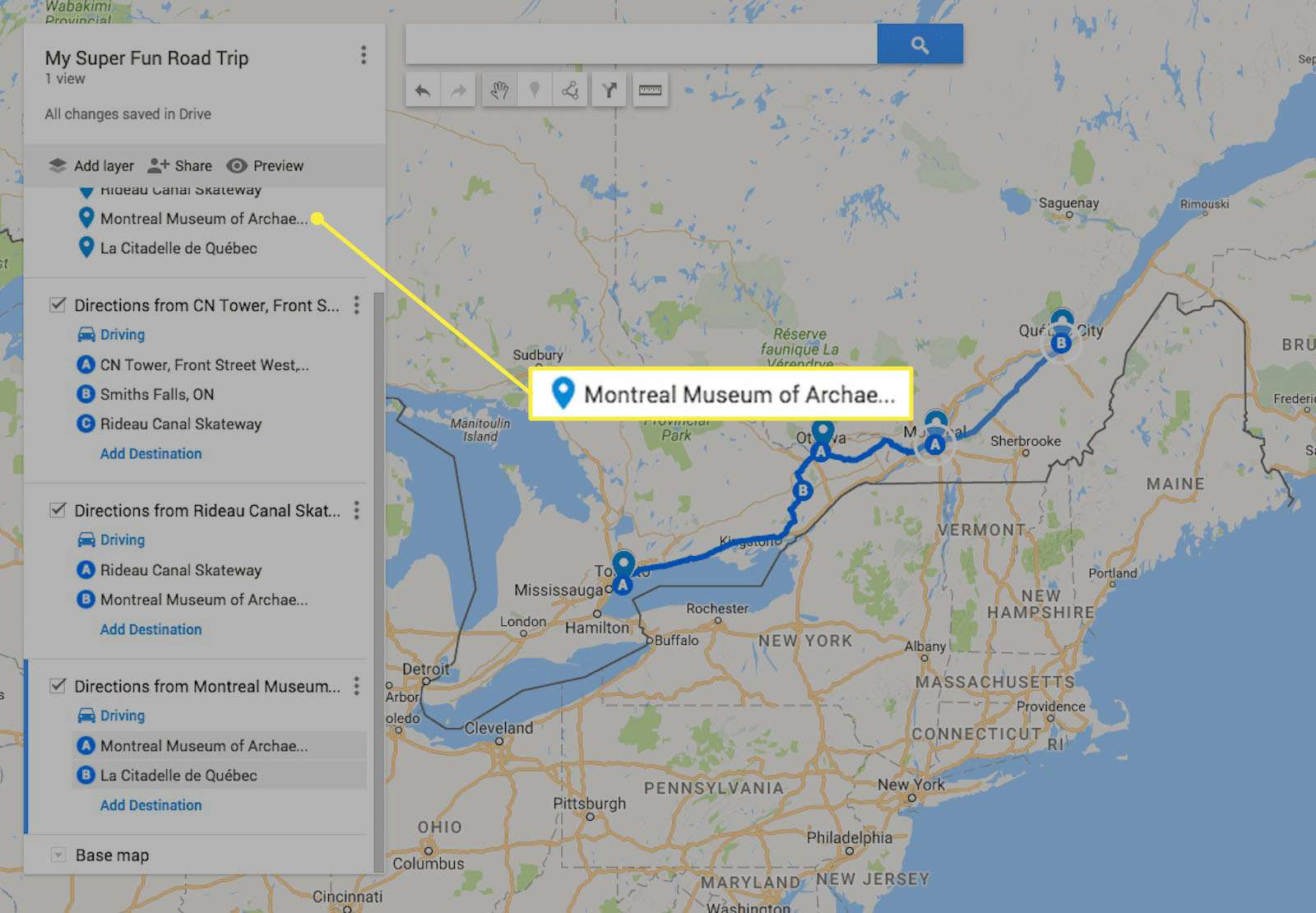 Mapping remaining destinations in Google My Maps