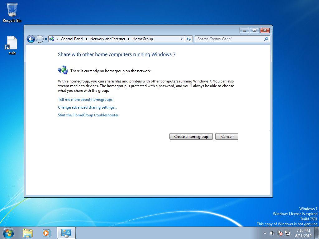 Windows 7 start homegroup creation
