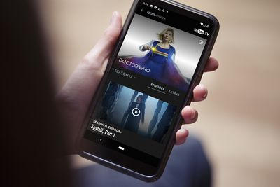 Streaming BBC America online using a phone.