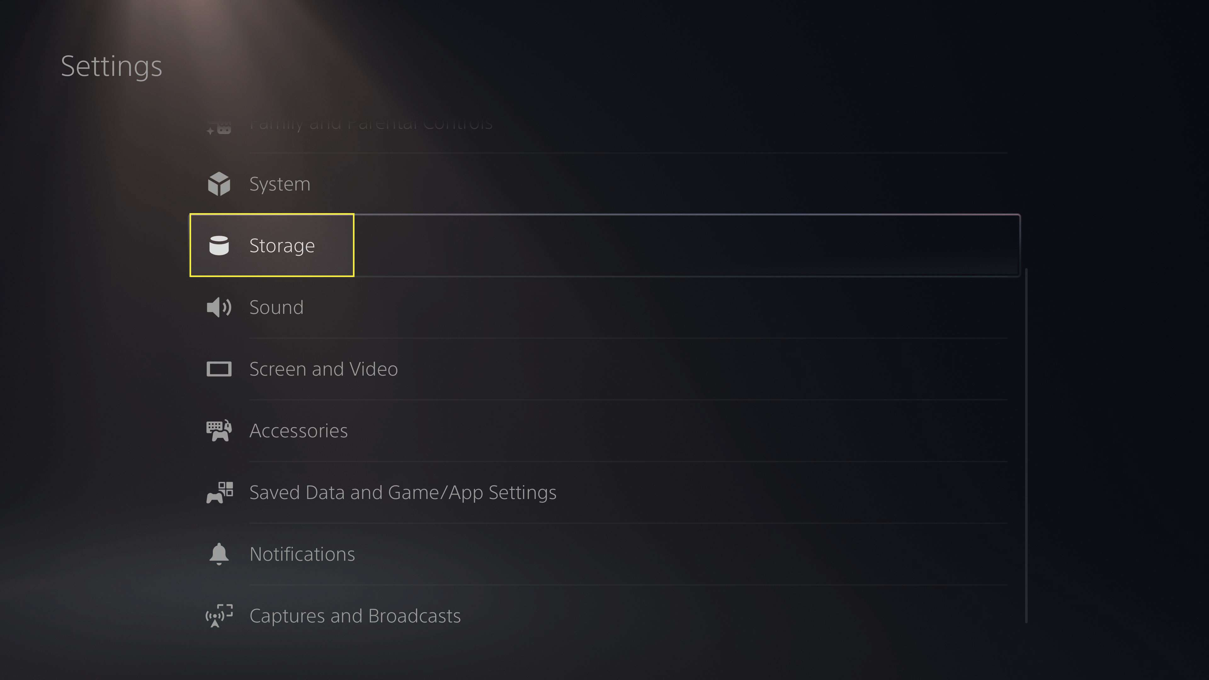 The Storage heading in PS5 Settings