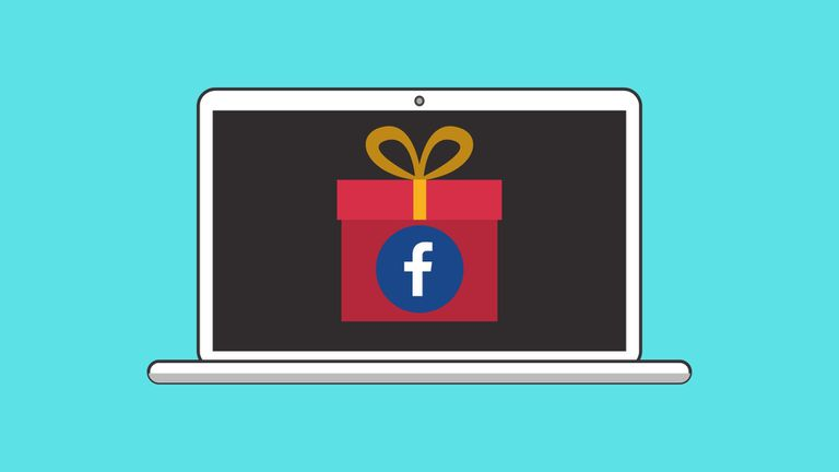 An image graphic of a gift with a Facebook icon on it, shown on a laptop screen.
